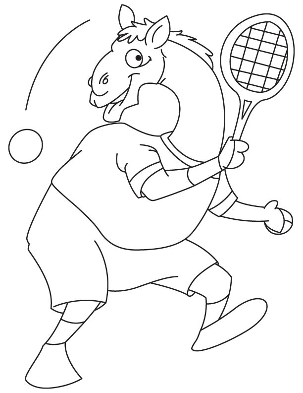Camel playing tennis coloring page