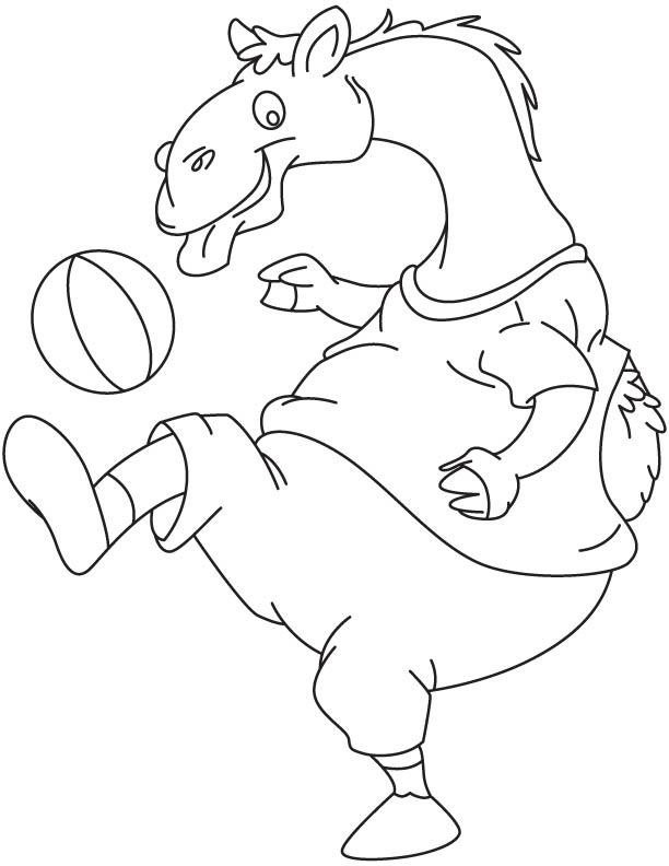 Camel playing with beach ball coloring page