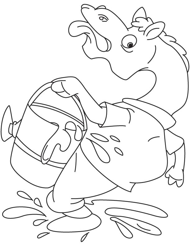 Camel slipped with milk coloring page