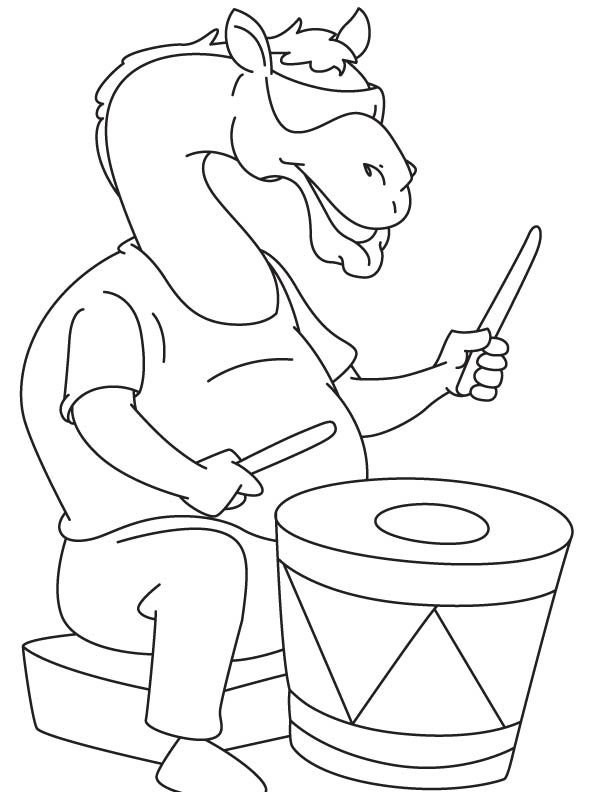 Camel the drummer coloring page