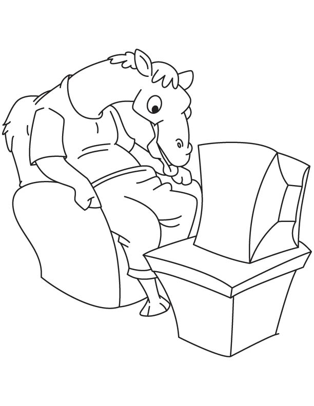 Camel watching tv coloring page