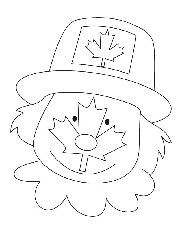 Canada flag on the clown face coloring pages