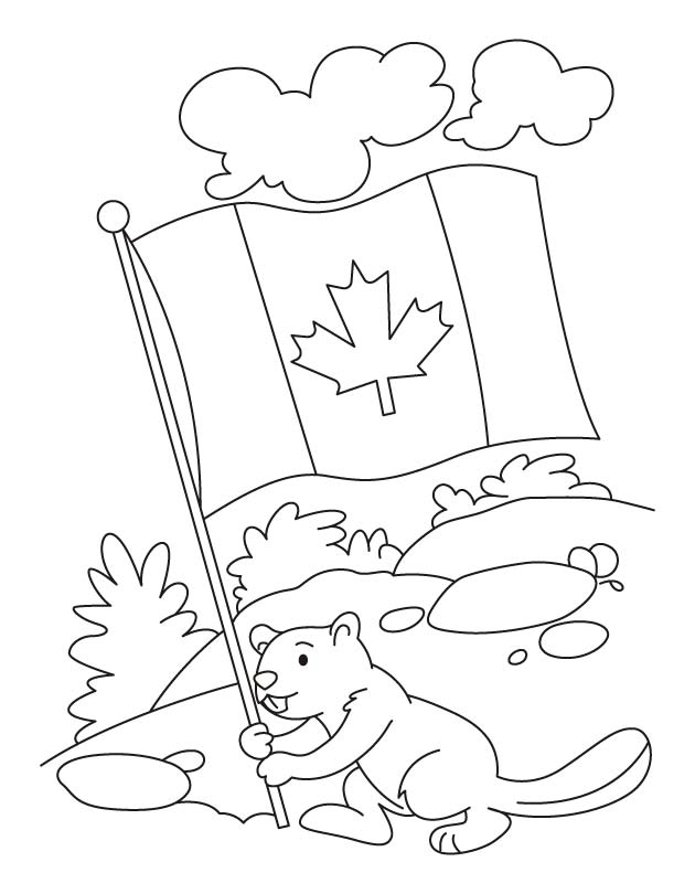 Happy beaver celebrating the Canada day coloring pages