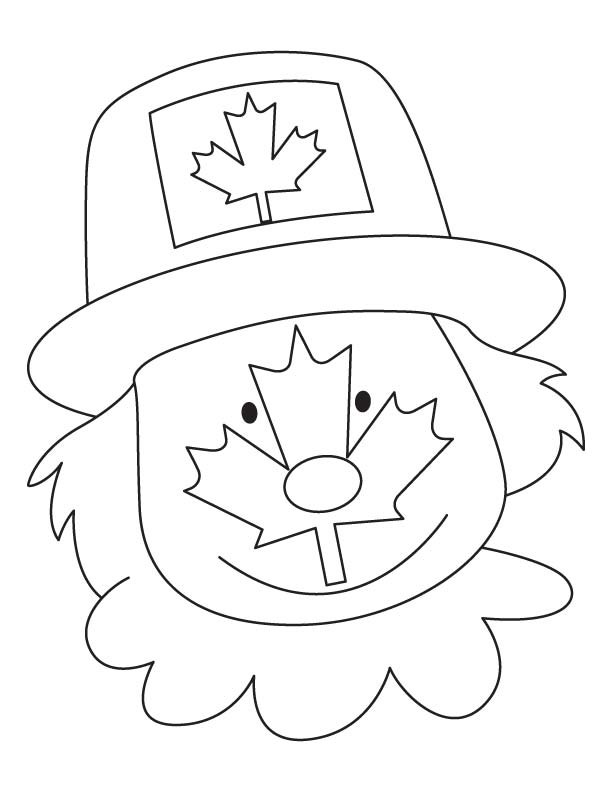 Canada face coloring page
