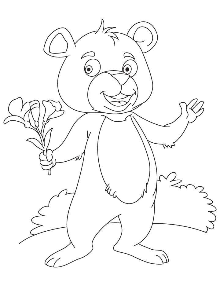 Canna flower in bear hand coloring page