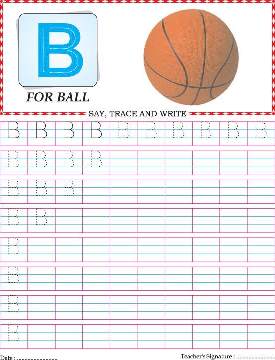 Capital letter B practice worksheet