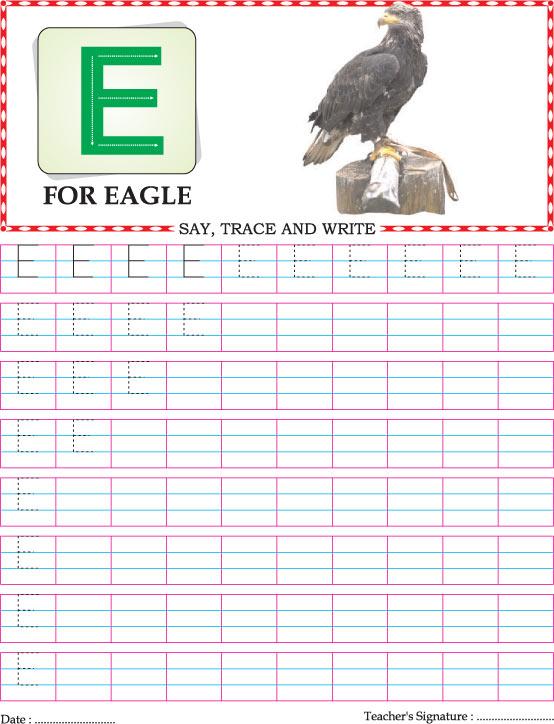 Capital letter E practice worksheet