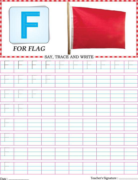 Capital letter F practice worksheet