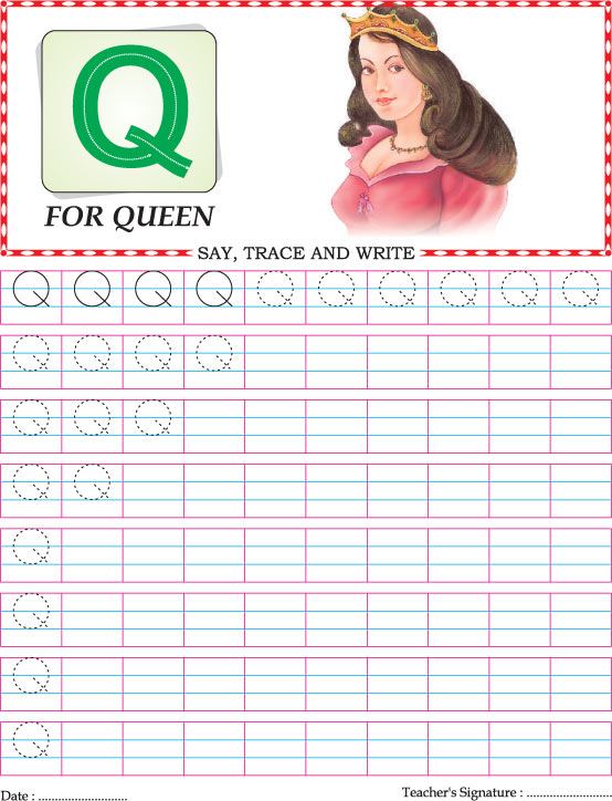 Capital letter Q practice worksheet Download Free Capital letter