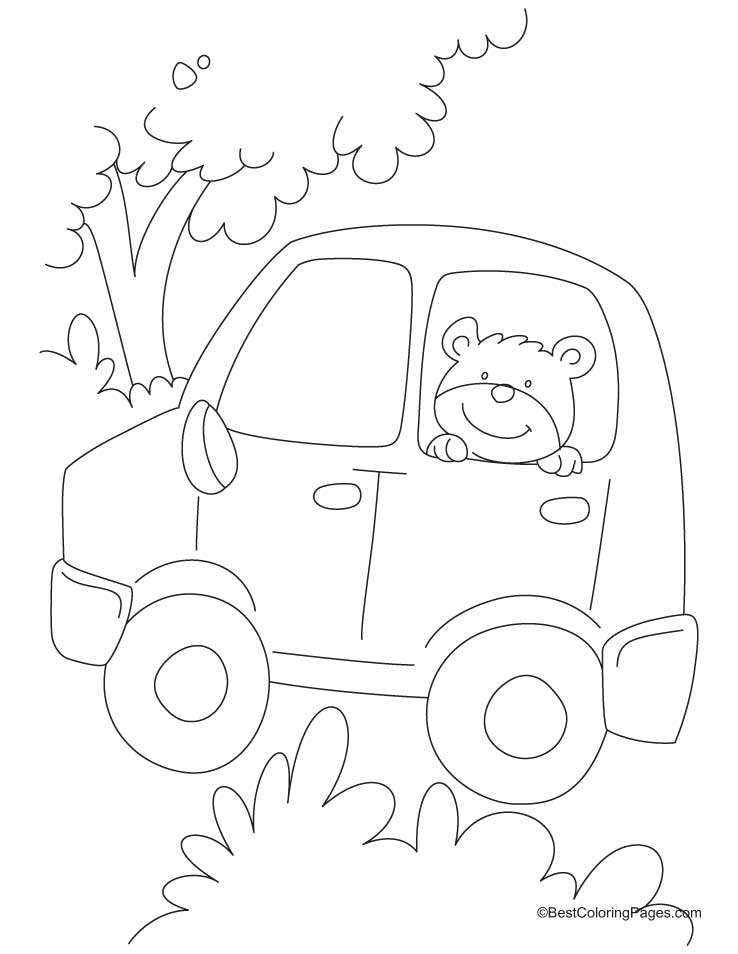 Teddy bear sitting in a car coloring pages