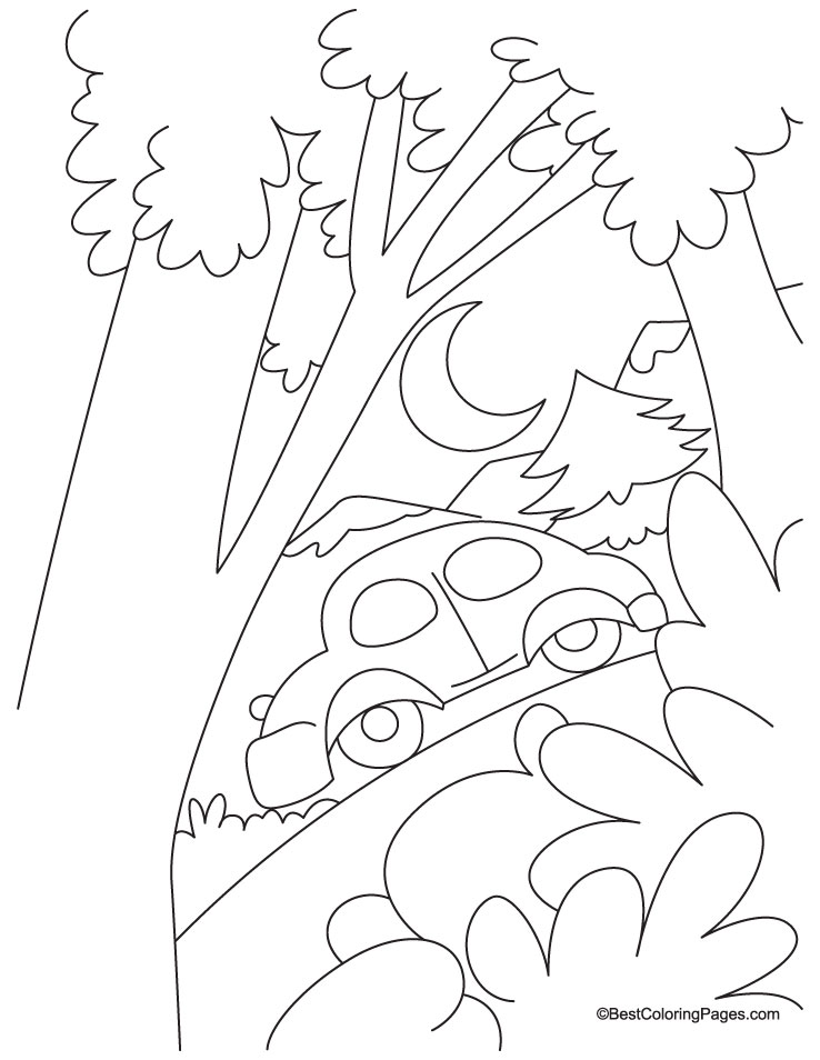 Car in a jungle coloring page