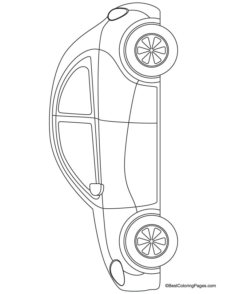 Beetle car coloring page