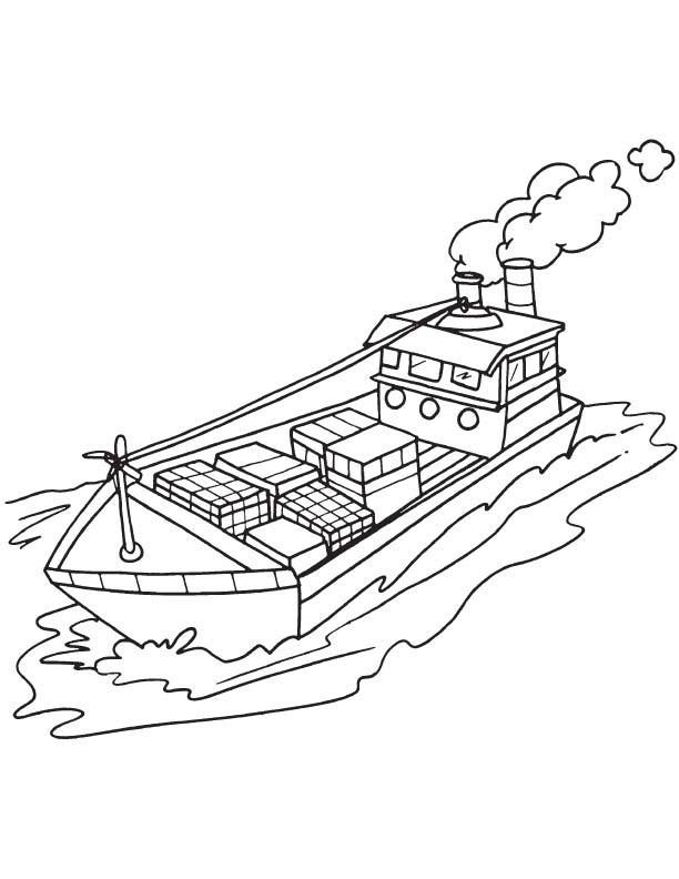 Cargo ship coloring page Download
