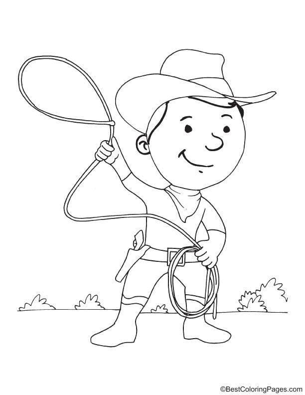 Cartoon cowboy coloring page