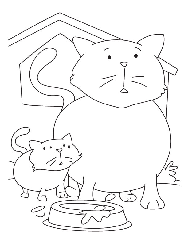 Kitten with mother cat coloring pages | Download Free Kitten with ...