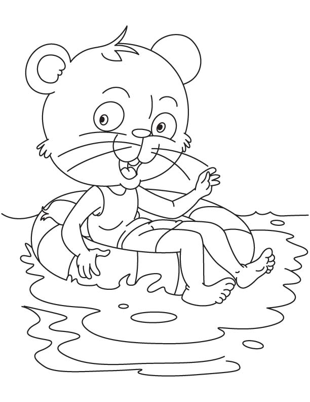 Cat learns to swim coloring page