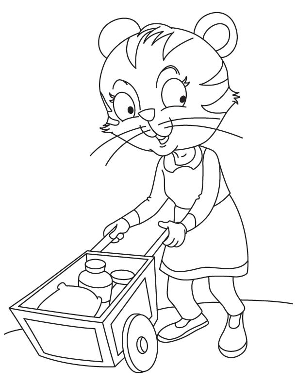 Cat pushing a cart coloring page