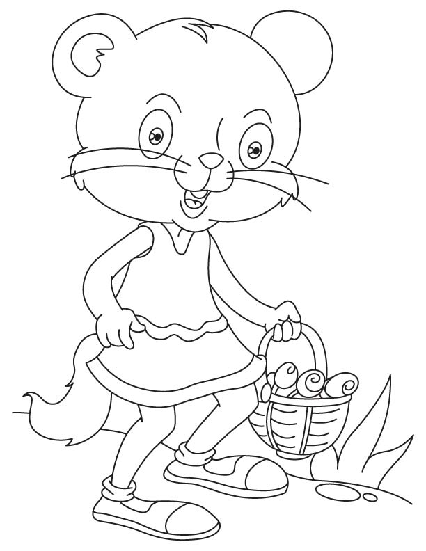 Cat shopping for kittens coloring page
