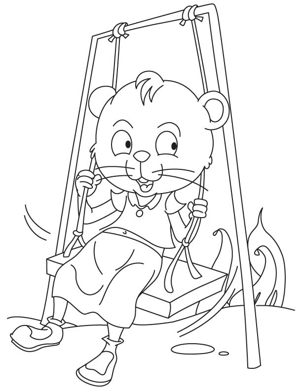 Cat swinging coloring page