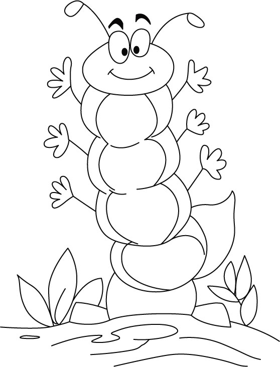 Caterpillar in high spirit coloring pages  Download Free