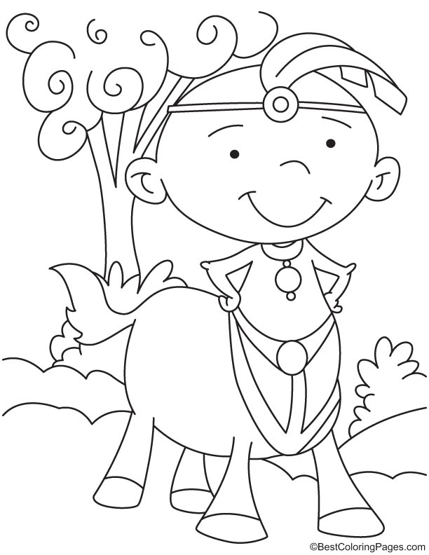 Centaur wearing jewelery coloring page