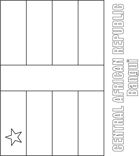 Central African Republic Flag Coloring Page