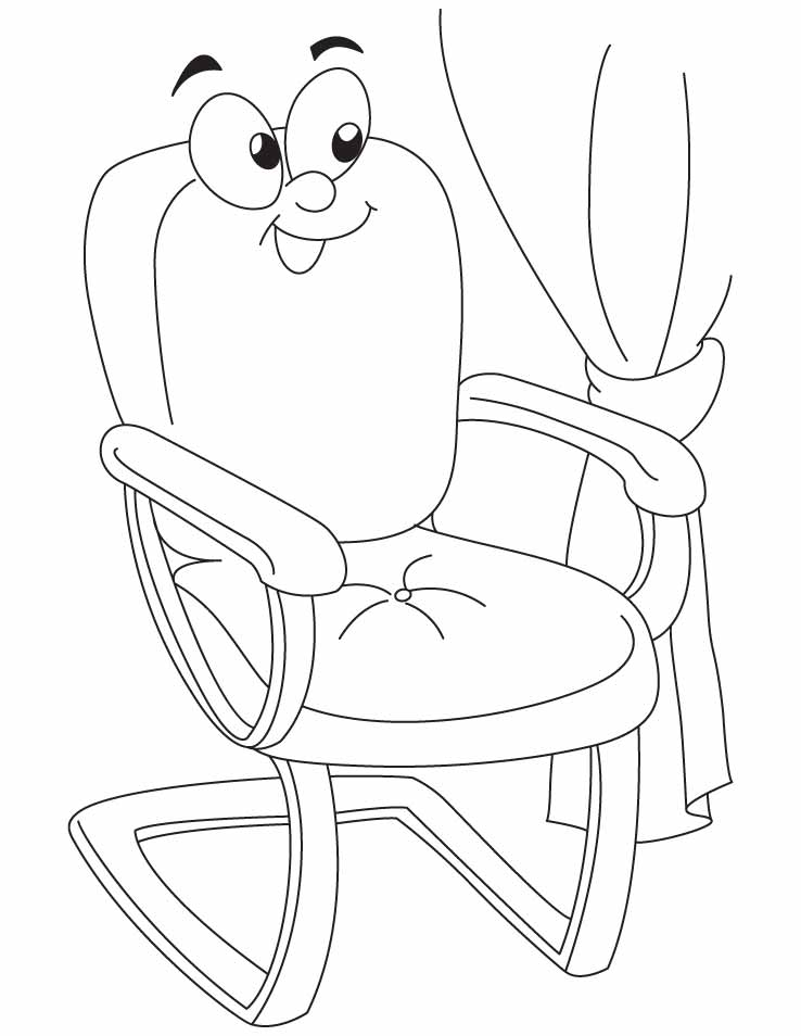 A Cartoon Chair Coloring Pages Download Free A Cartoon