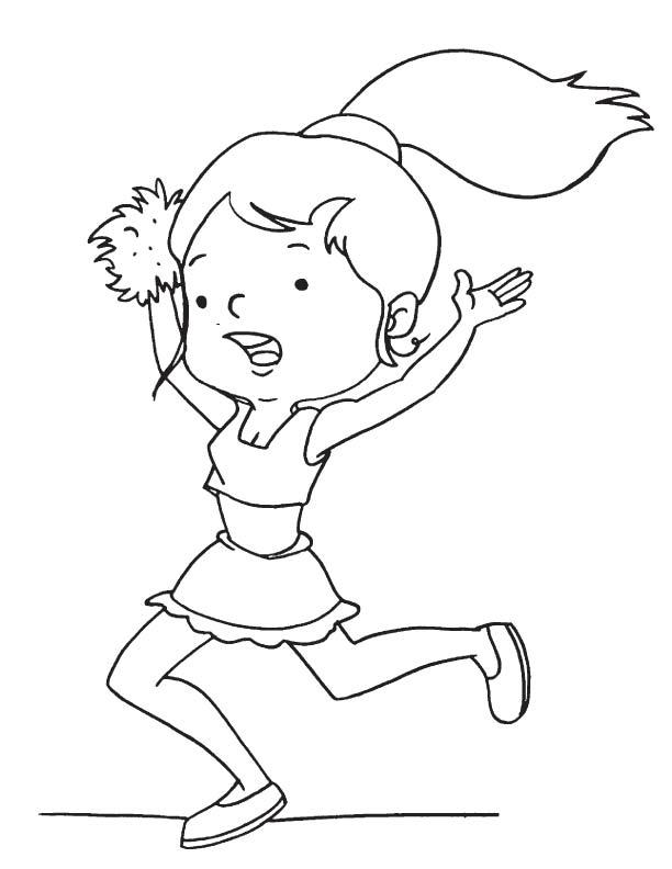 Cheerleader dancing coloring page