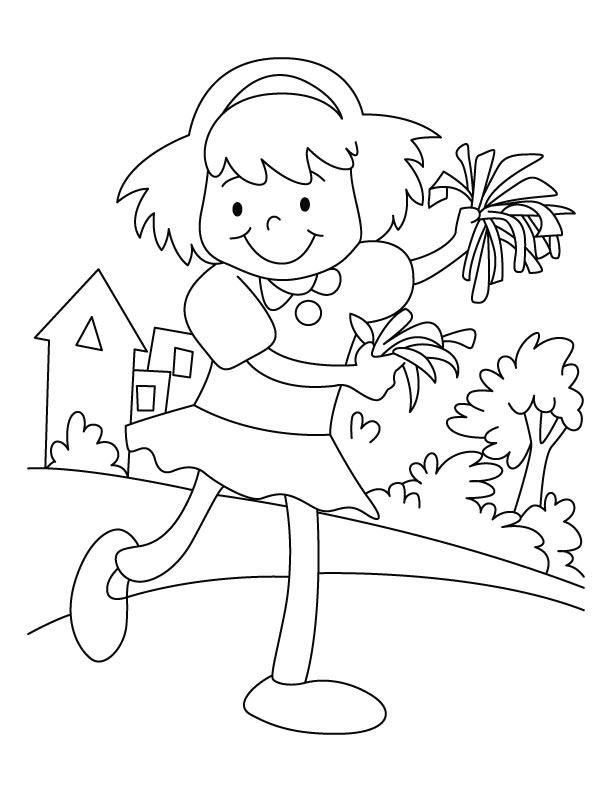 Happy cheerleader coloring page