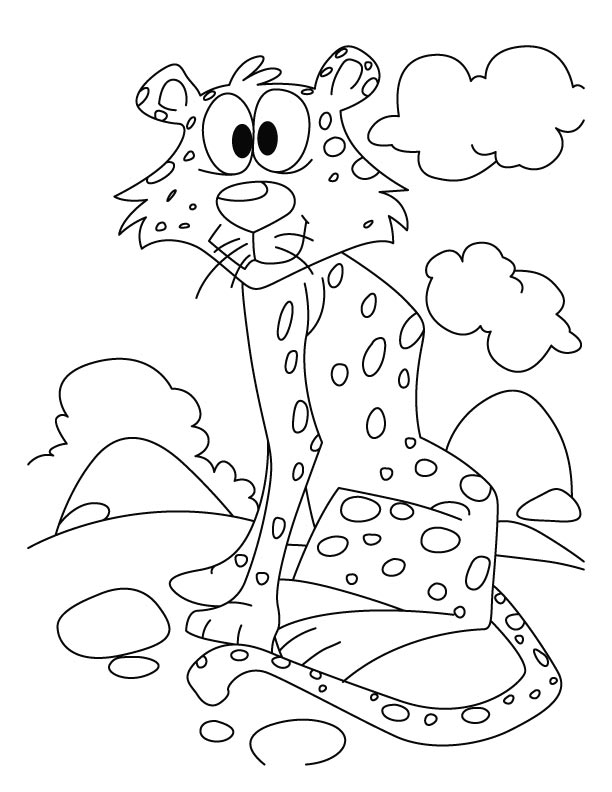 Cheetah Waiting For Someone Coloring Pages