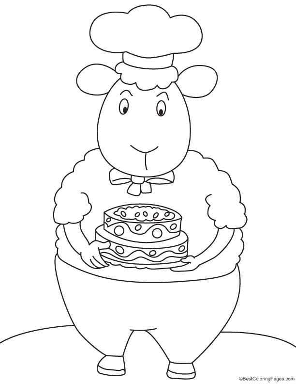 Chef sheep coloring page