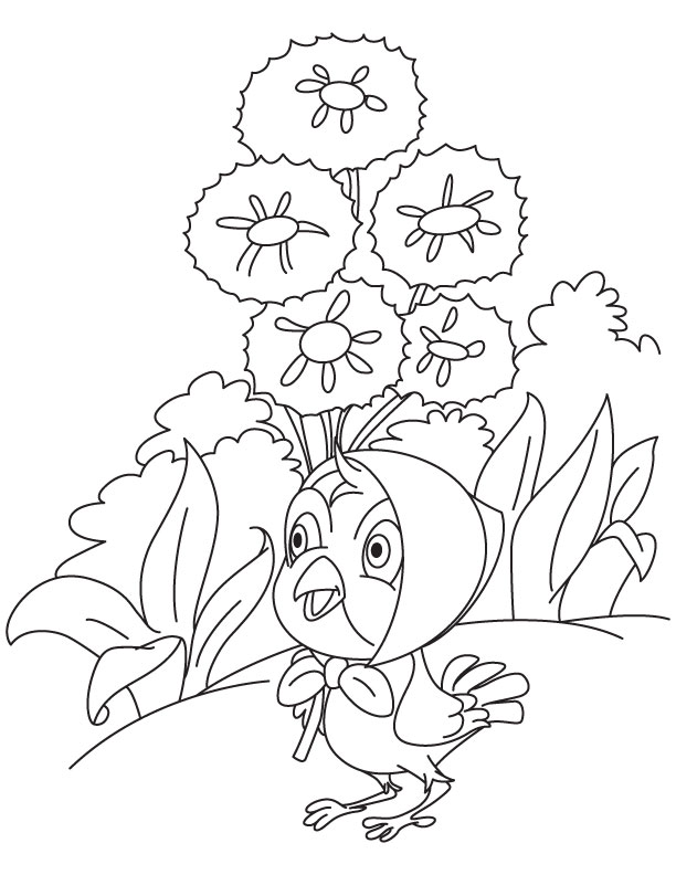 Chick selling cornflower coloring page