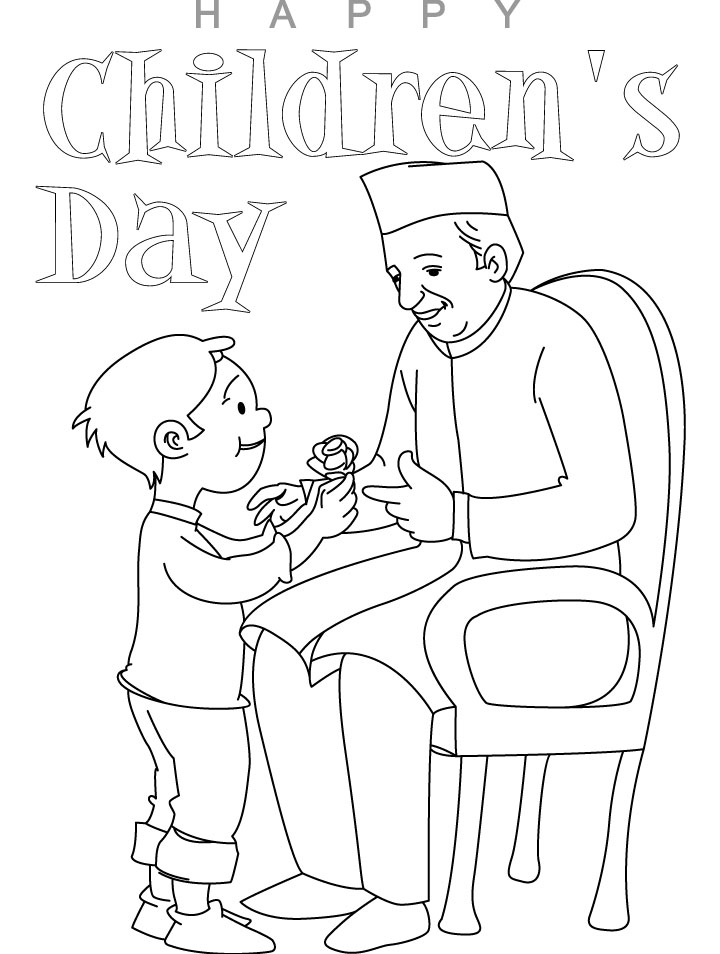 chacha nehru with children coloring page