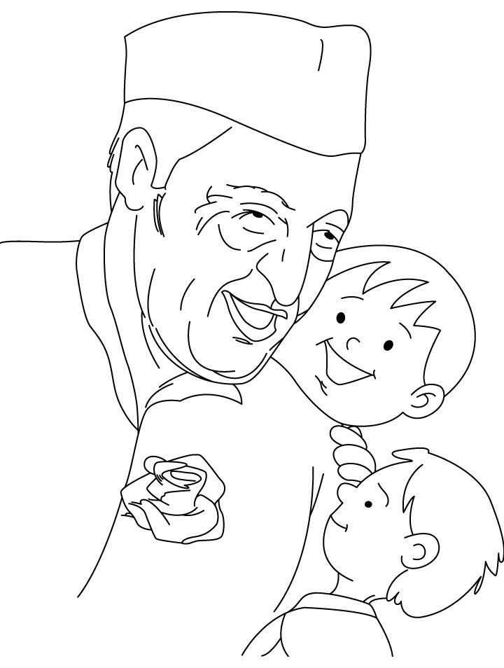 Chacha Nehru enjoying with children coloring page