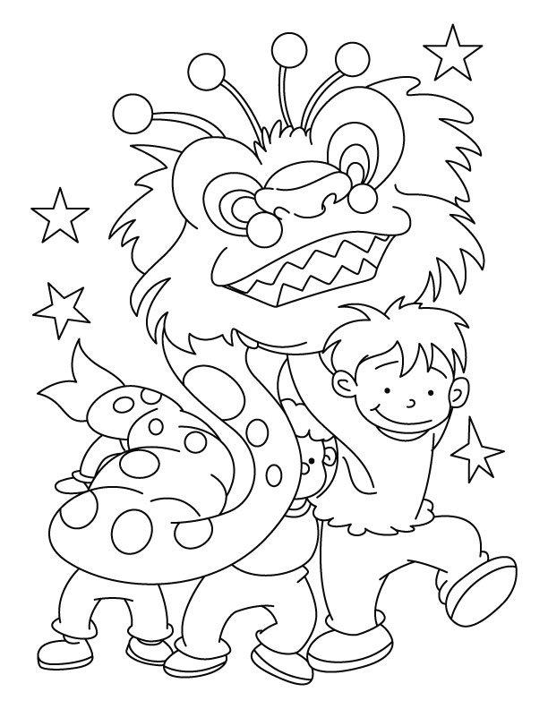 Free Colouring Pages Chinese New Year : Party coloring page download free dragon dance