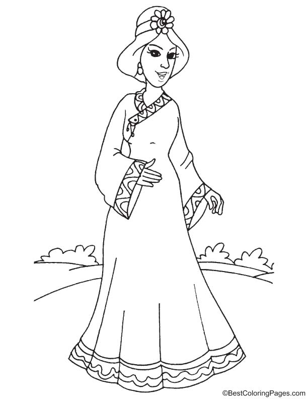 Chinese princess coloring page | Download Free Chinese princess ...