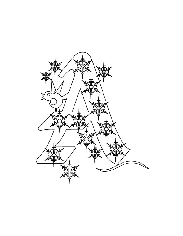 Christmas Alphabet A Coloring Pages