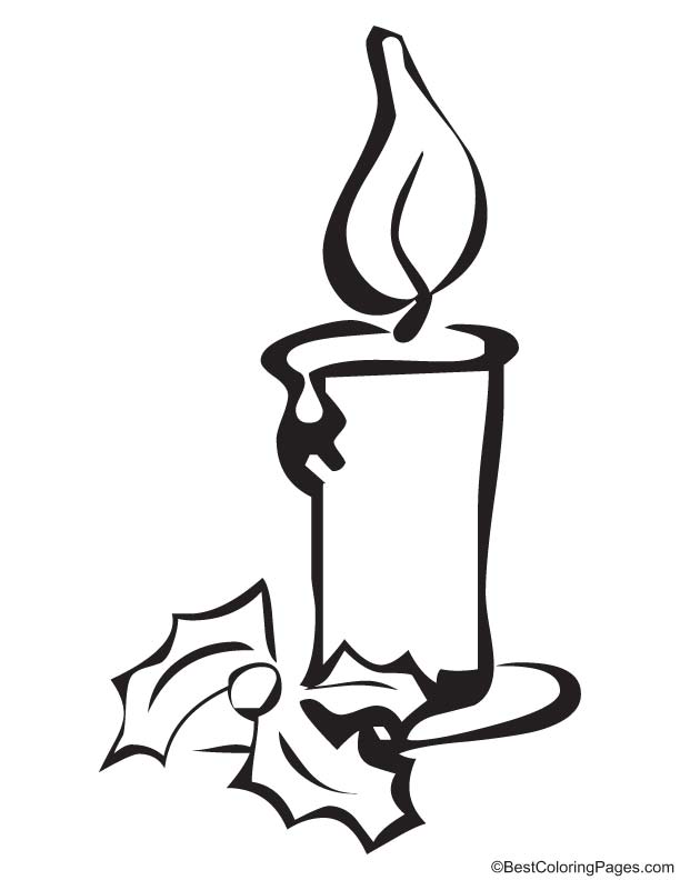 Christmas candle coloring page   Download Free Christmas candle ...