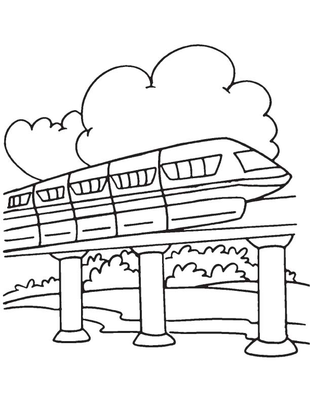 Cloud behind the monorail coloring page