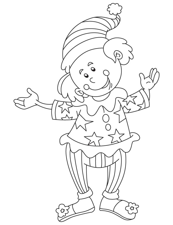Clown a comic performer coloring page