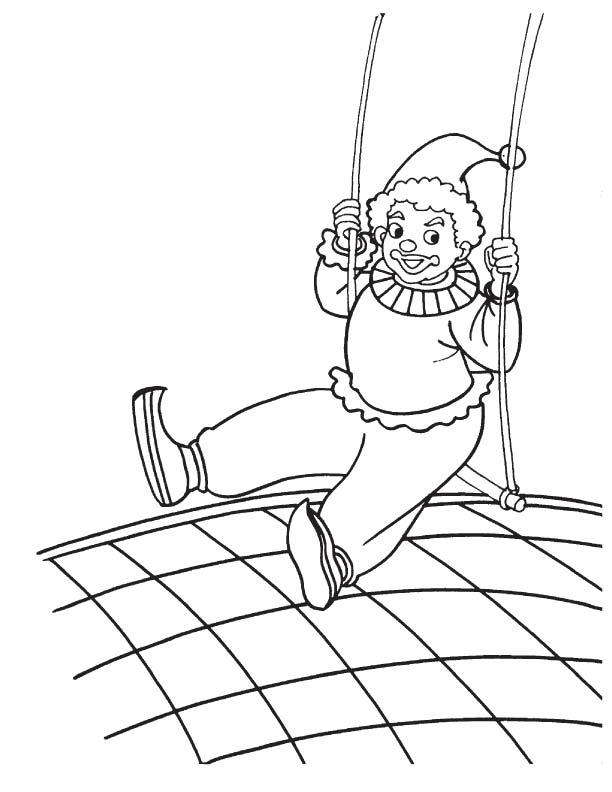 Clown acrobat swinging coloring page