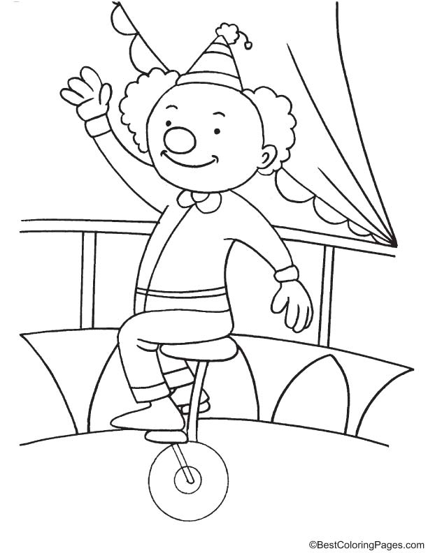 Clown riding unicycle coloring page