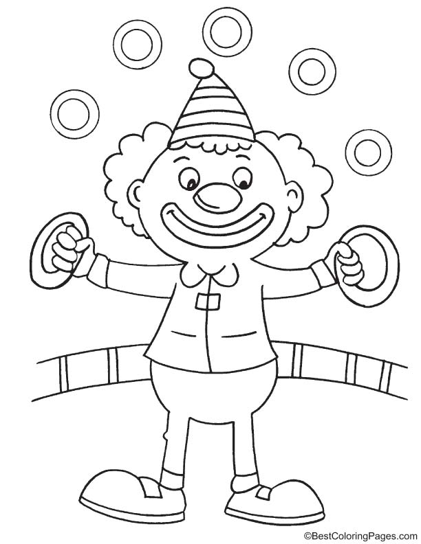 Clown show coloring page
