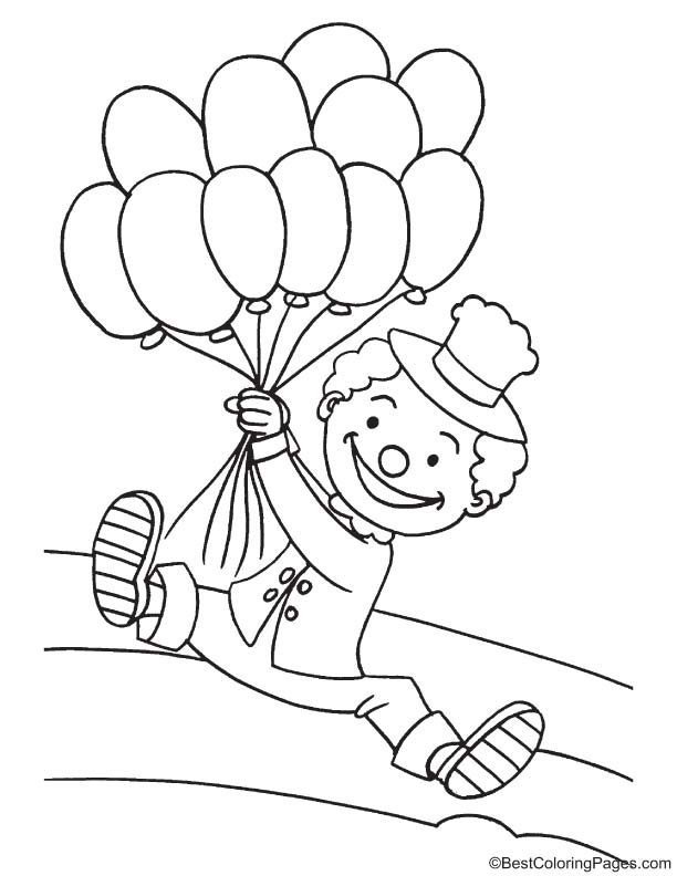 Clown with balloons coloring page | Download Free Clown with ...