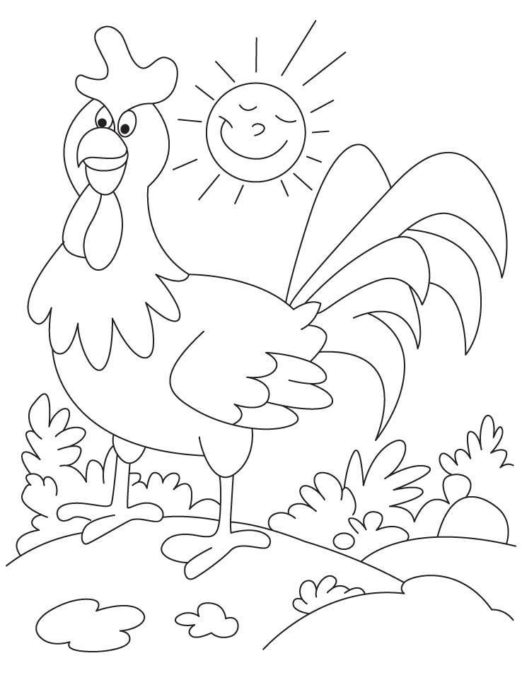 Funny rooster farm animal coloring pages