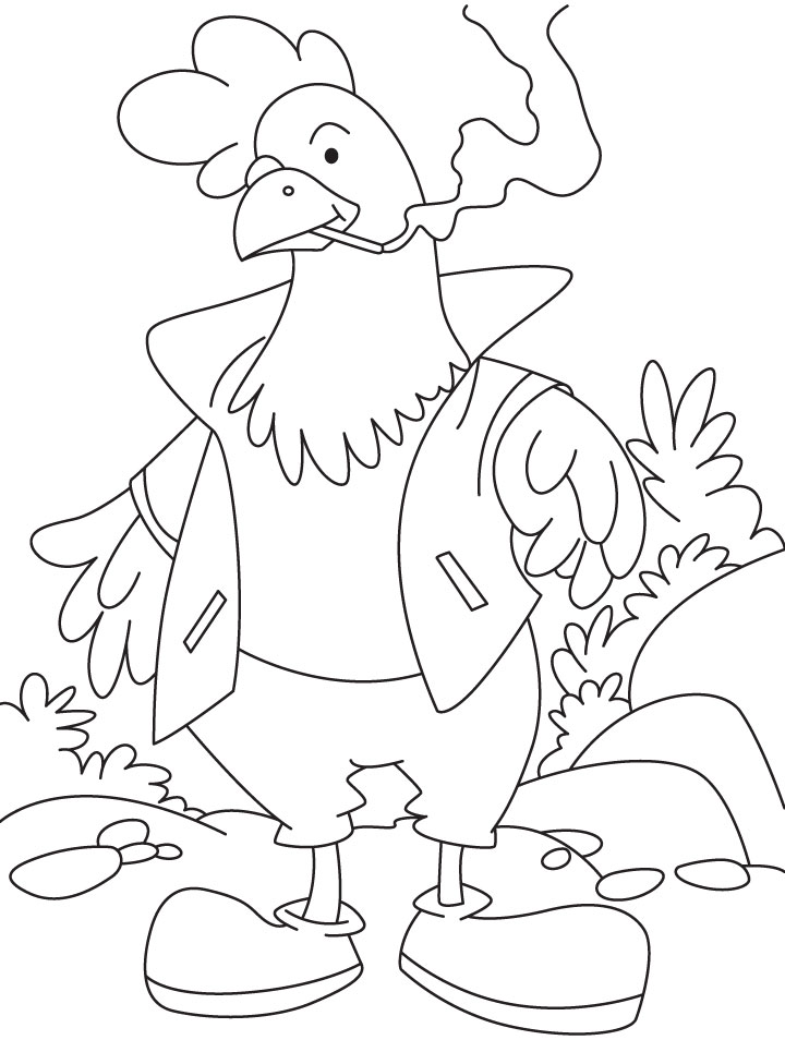 rooster smoking coloring page