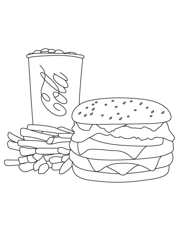 Cola fries burger coloring page