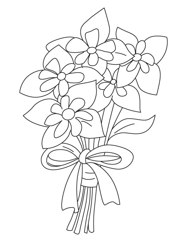 Columbine bouquet coloring page
