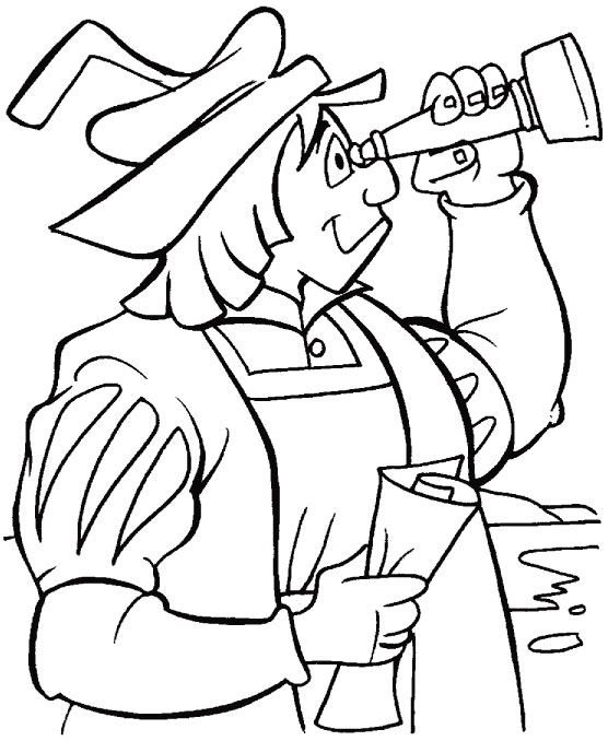 Columbus with telescope coloring page