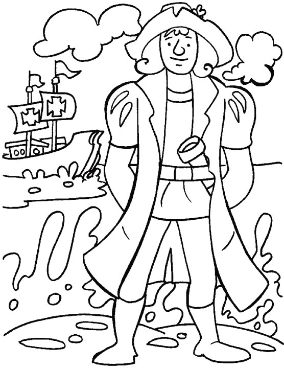 Columbus looking for a safe place to think over his for Columbus coloring page